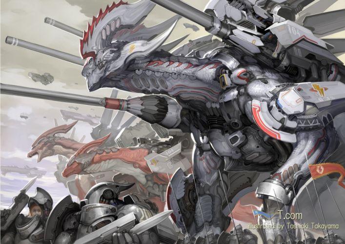 armor dragon mecha original takayama toshiaki weapon wallpaper