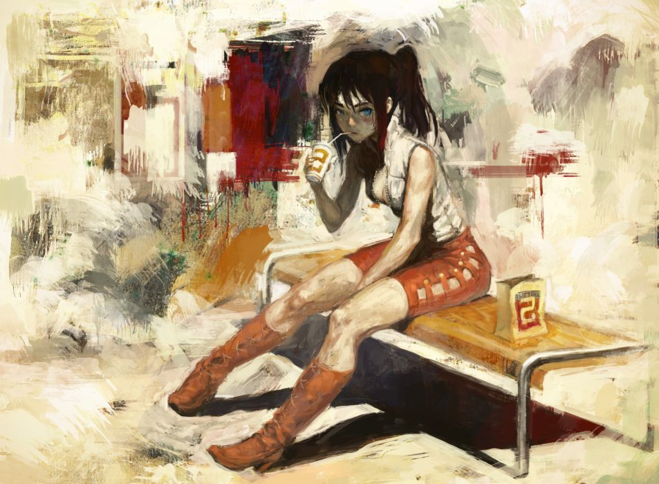 bench blue eyes boots brown hair cleavage drink nababa original ponytail red hair skirt wet wallpaper