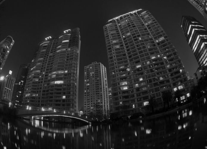 black and white beach cityscapes night wallpaper