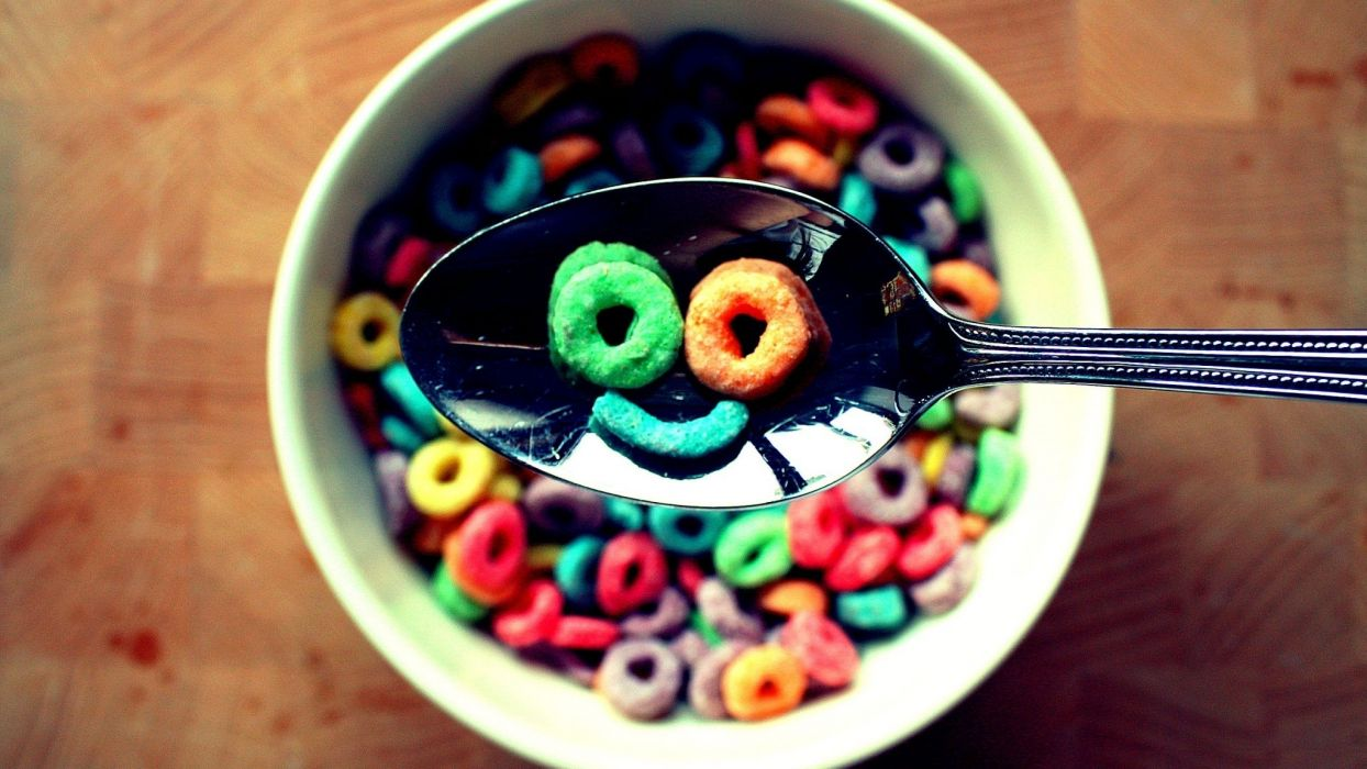 vintage smiley face smiling cereal breakfast colors wallpaper