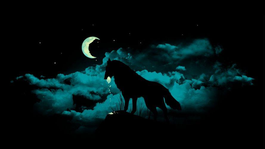 black artwork crescent wolves wallpaper
