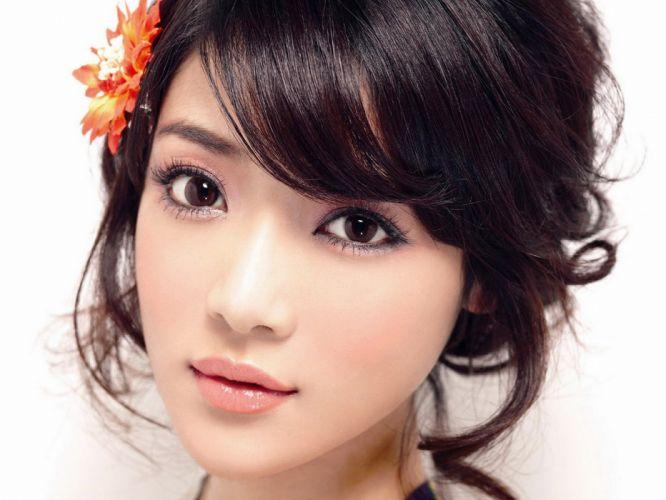 women brown eyes Asians faces Deng Jia Jia flower in hair wallpaper