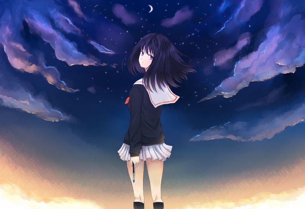 black hair moon night original purple eyes seifuku sky wallpaper