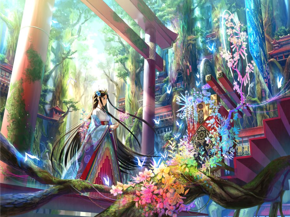 blue eyes brown hair butterfly flowers fuji choko japanese clothes long hair miko original tree wallpaper
