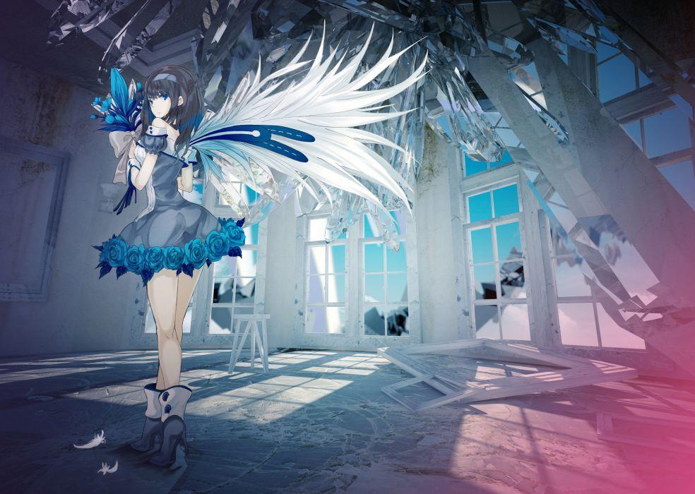 blue eyes dress flowers ochakai shinya original wings wallpaper
