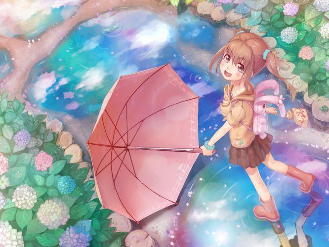 boots flowers juu_ original rainbow skirt umbrella water wallpaper