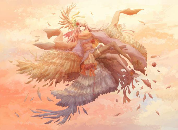 dress feathers juuyonkou original wings wallpaper
