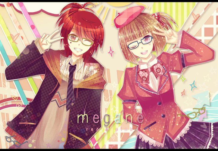 girls brown hair glasses hat long hair original pink eyes red eyes red hair ribbons short hair skirt tie wallpaper