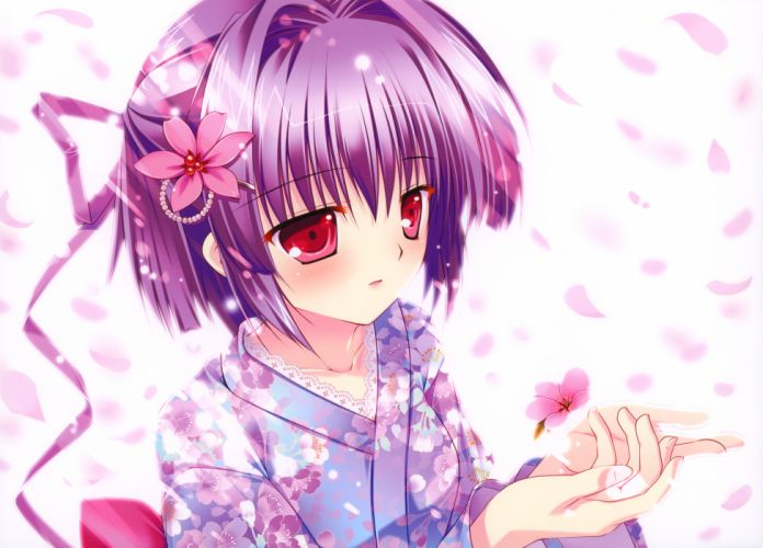 close flowers japanese clothes mikeou original petals pink chuchu purple hair red eyes wallpaper