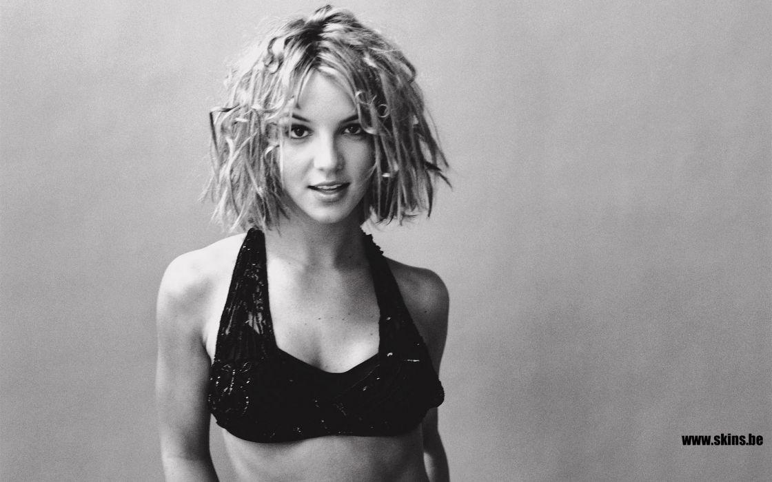 Britney Spears singer musician blondes women females girls sexy babes face eyes monochrome black white      b wallpaper