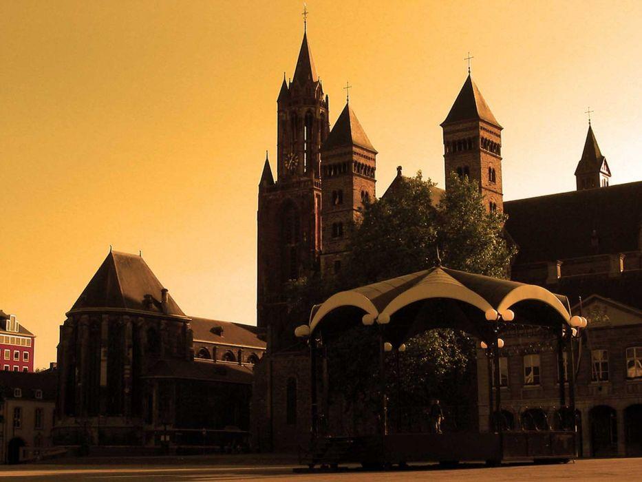 sunset cityscapes Holland Maastricht wallpaper