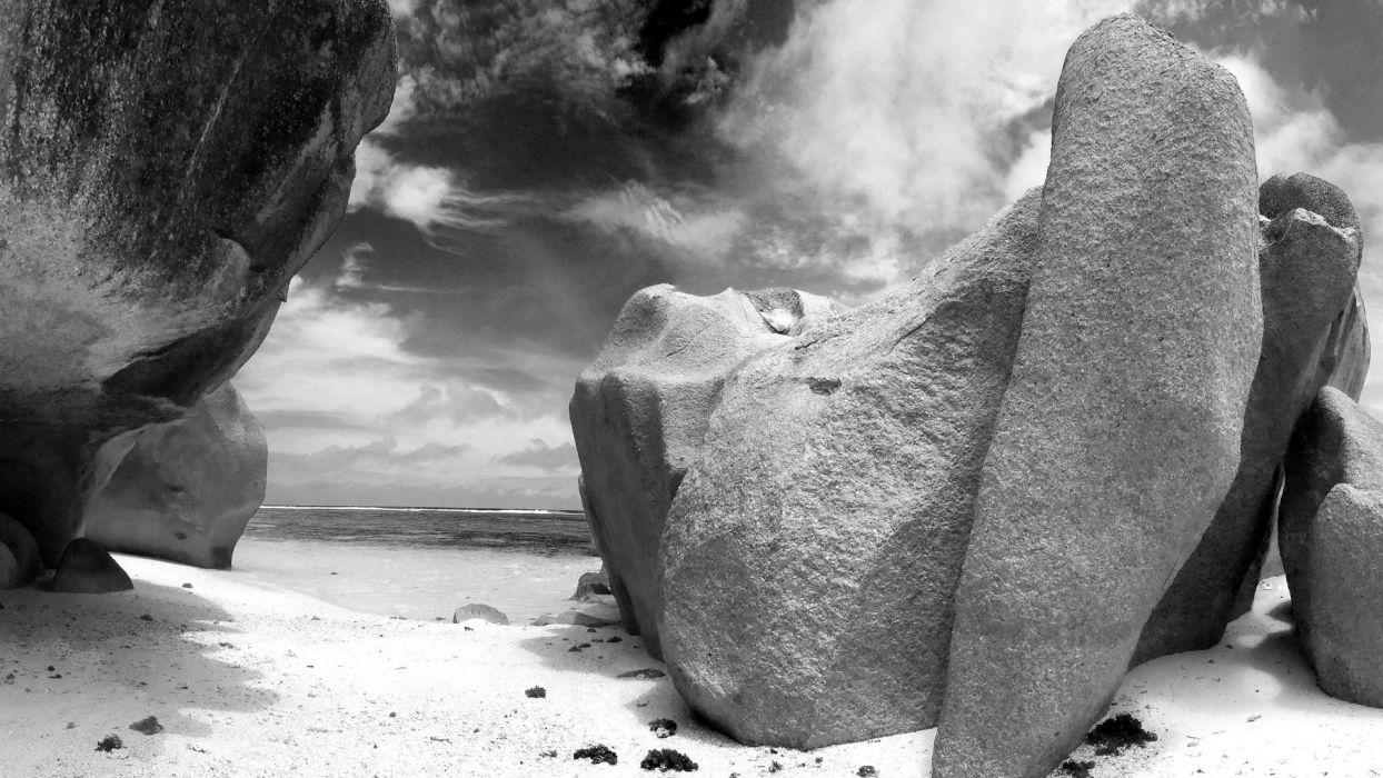 beach rock grayscale wallpaper