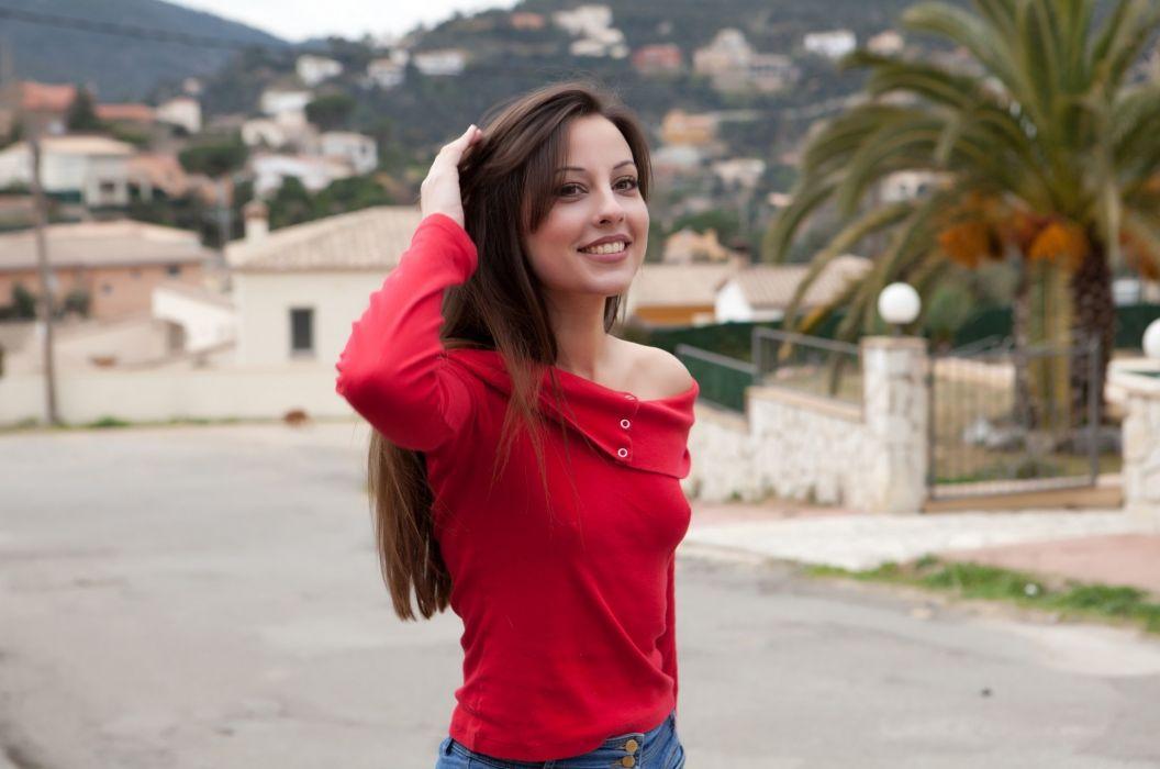 brunettes women Lorena Garcia nipples through clothing wallpaper