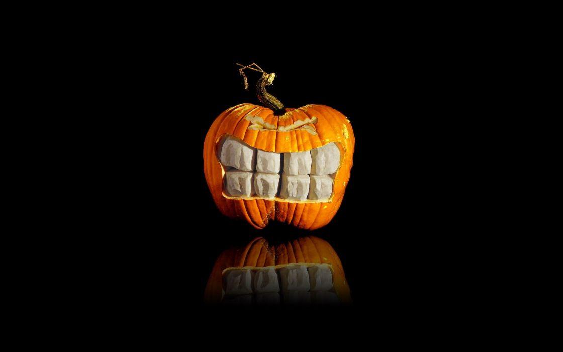 Halloween digital art pumpkins black background wallpaper