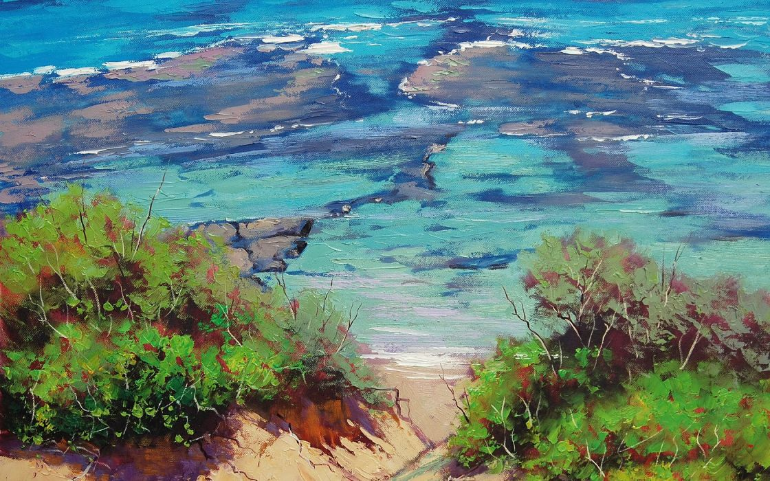 paintings beach dunes sea wallpaper