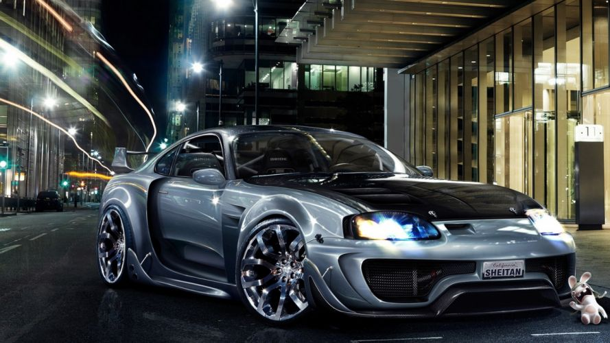digital art tuning wheels Toyota Supra blurred wallpaper