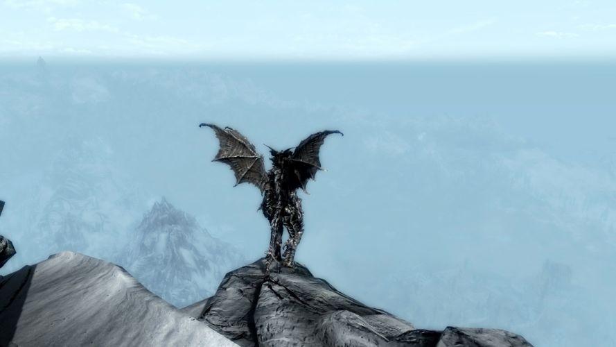 mountains dragons argonian skyscapes The Elder Scrolls Skyrim wallpaper