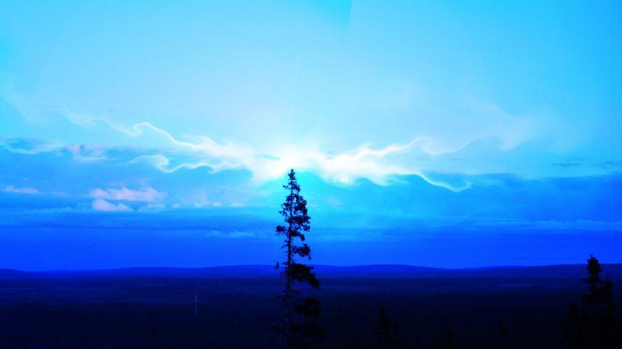 blue landscapes cold Finland Lapland wallpaper