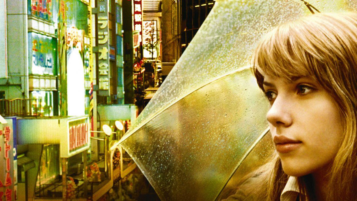 women Japan Scarlett Johansson actress Lost in Translation umbrellas wallpaper