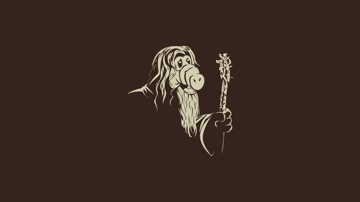 abstract wizard Gandalf The Lord of the Rings solid Alf crossovers simplistic simple wallpaper