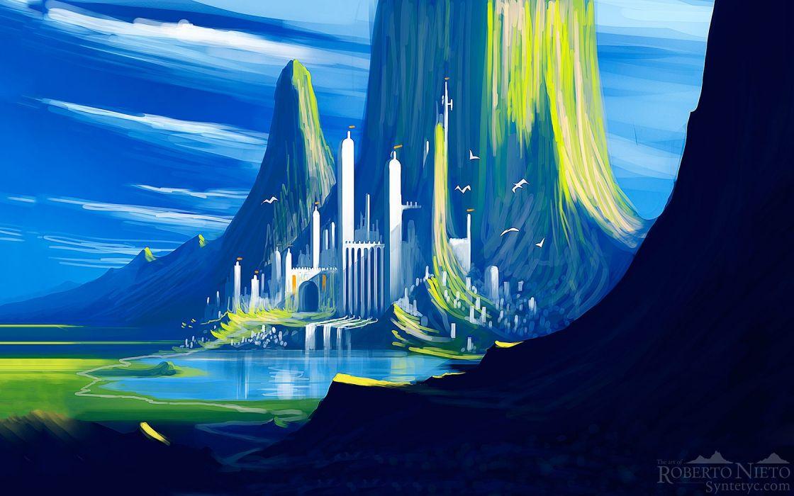 water paintings landscapes fantasy art digital art artwork castle wallpaper