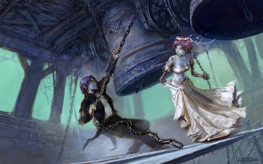 video games dress World of Warcraft undead brides fantasy art artwork bells weddings Yaorenwo wallpaper