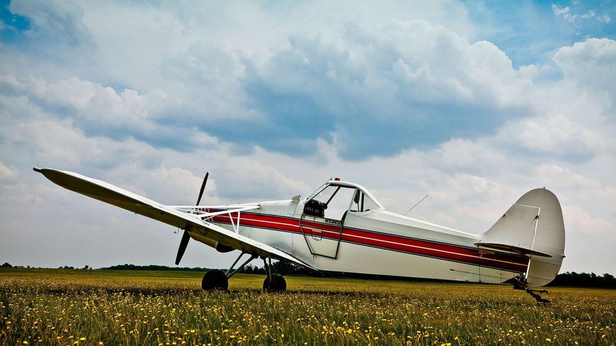 clouds aircraft grass aviation tow plane wallpaper