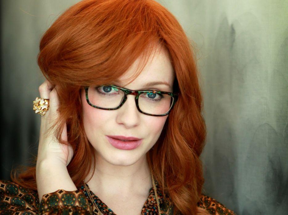 women redheads glasses Christina Hendricks wallpaper