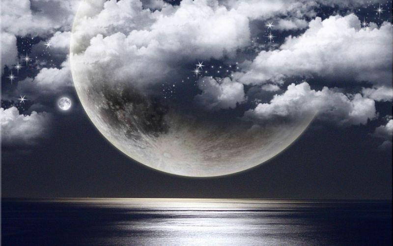 ocean clouds Moon photomanipulation wallpaper