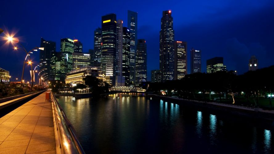 cityscapes architecture town skyscrapers rivers night city wallpaper