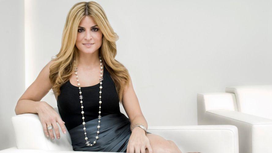 blondes smiling necklaces halter top Alison Victoria interior designer tv personality wallpaper
