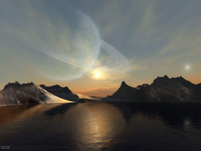 water mountains Sun planets fantasy art digital art planetary rings sea wallpaper