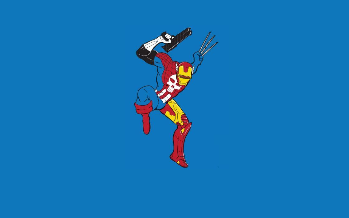 minimalistic Iron Man Thor Spider-man Captain America Wolverine superheroes The Punisher Cyclops wallpaper