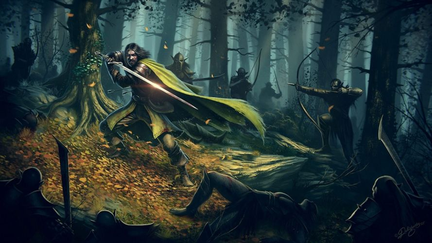 forest The Lord of the Rings fantasy art orcs artwork warriors bow (weapon) Boromir The Warrior Of Gondor fallen leaves wallpaper