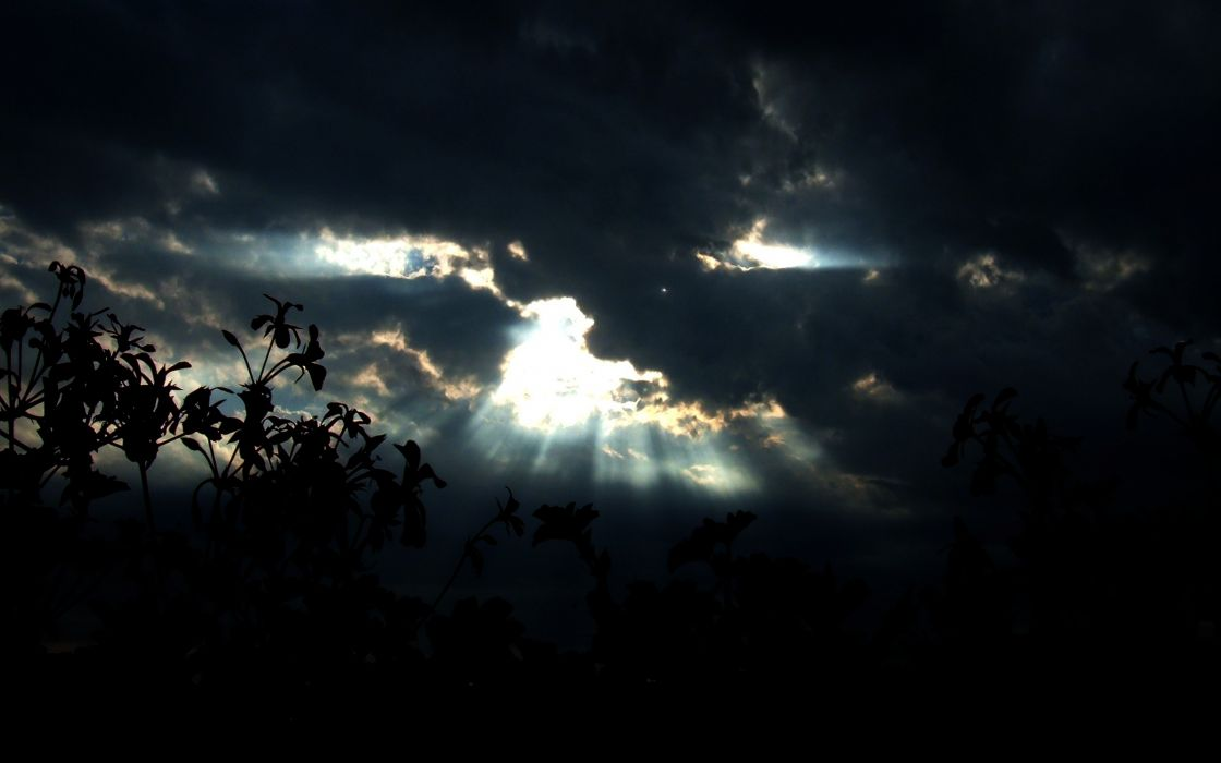 clouds silhouettes sunlight skyscapes wallpaper