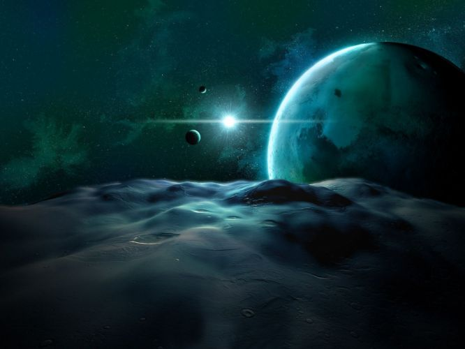 outer space sand stars planets bright wallpaper