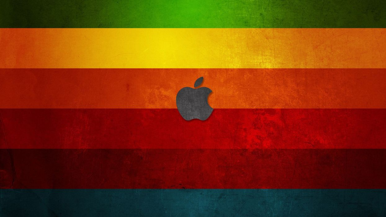 wood Apple Inc_ Mac operating systems rainbows colors stripes wallpaper