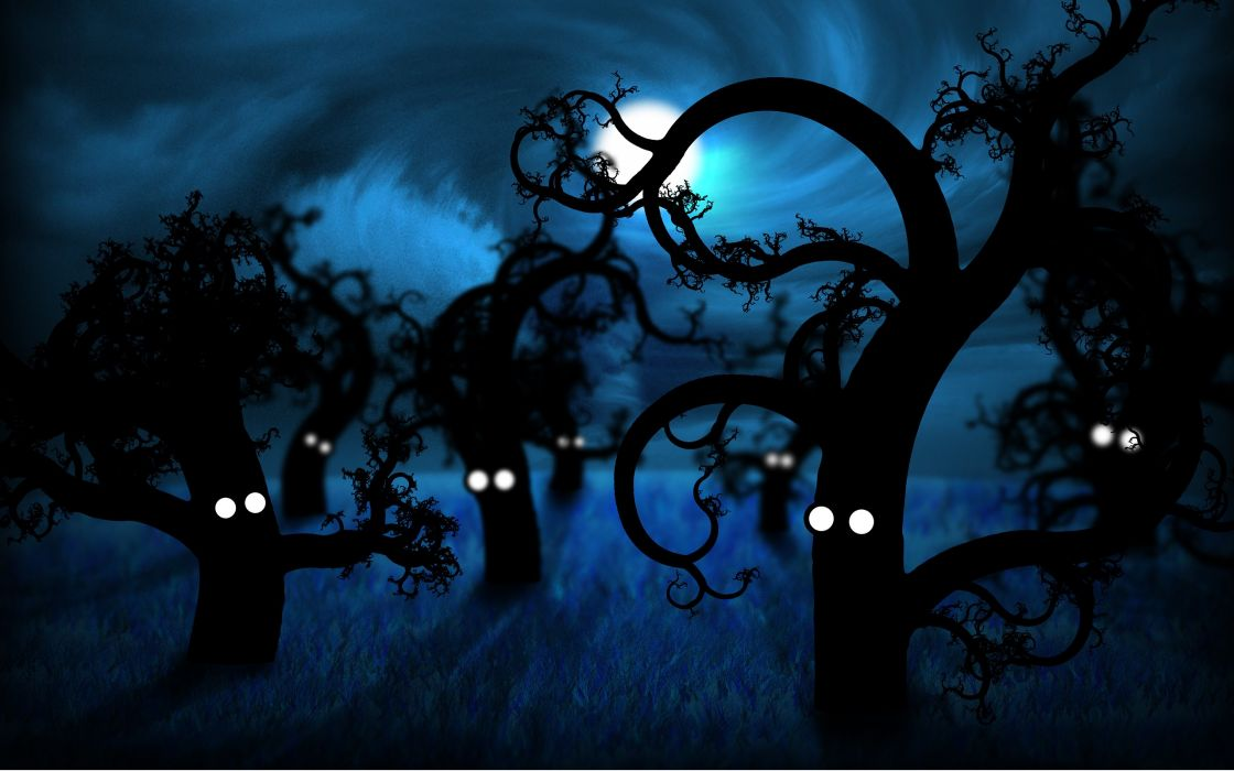 trees dark funny wallpaper