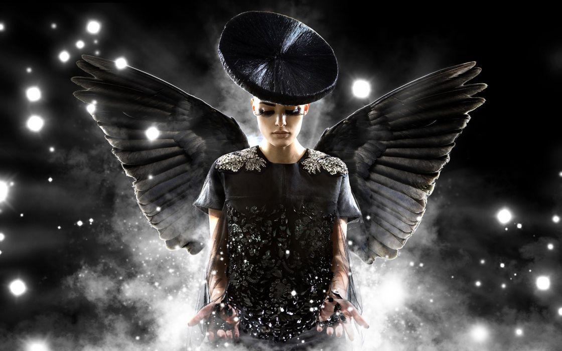 light angels women black dark night black angel wallpaper