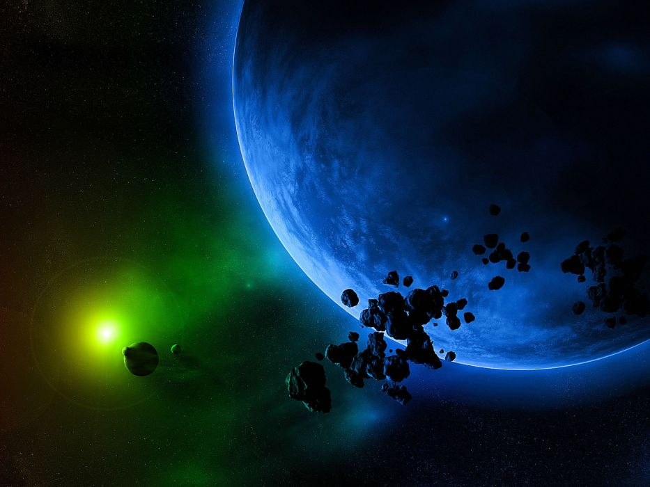 outer space multicolor planets rainbows asteroids meteorite bright wallpaper