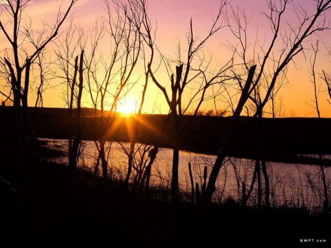 sunset nature Wilson Kansas wallpaper