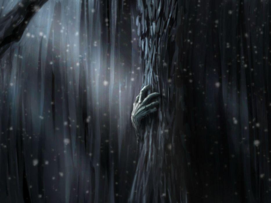 abstract trees digital art wallpaper