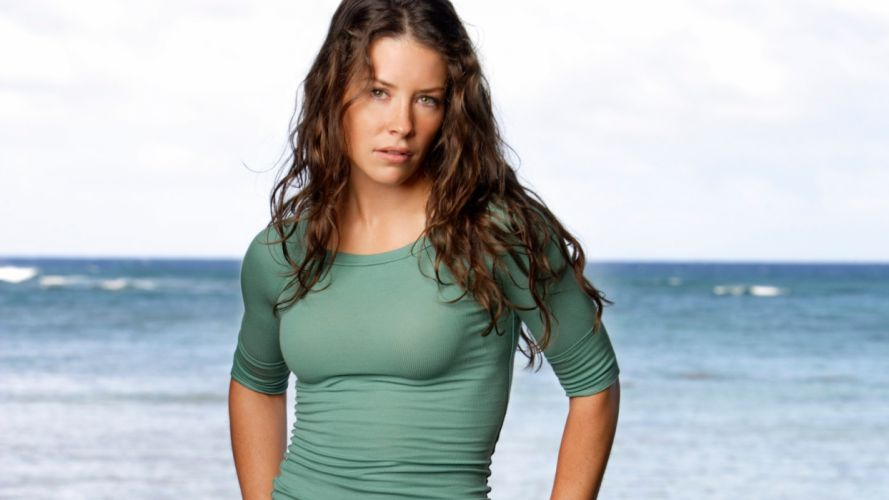 brunettes women ocean Evangeline Lilly freckles green eyes tight clothing wallpaper