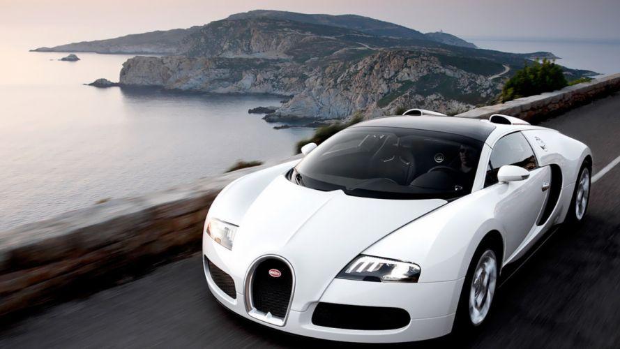 water coast cars men Bugatti Veyron roads wallpaper