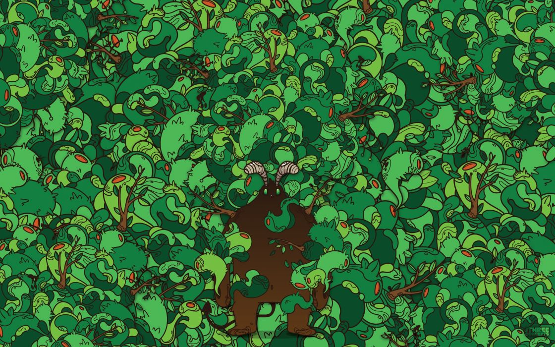 green abstract forest vector hipster artwork JThree Concepts demon Jared Nickerson wallpaper