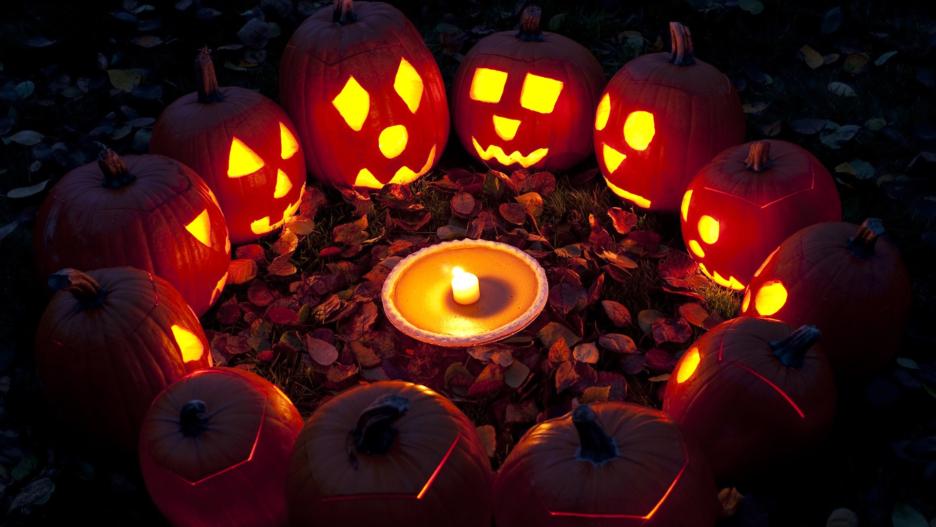 Lanterns Jack O Lantern pumpkins gathering wallpaper | 1920x1080