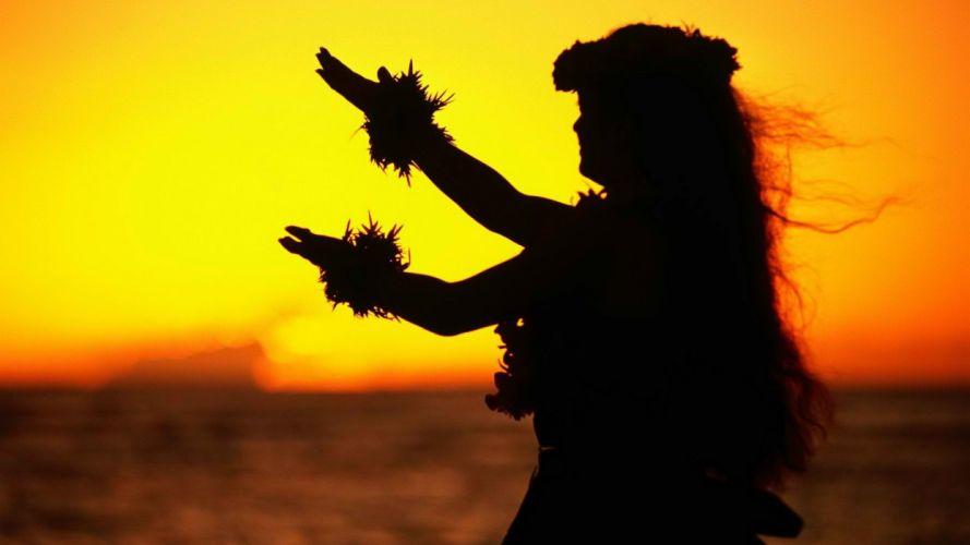 sunset Hawaii dancers Oahu wallpaper
