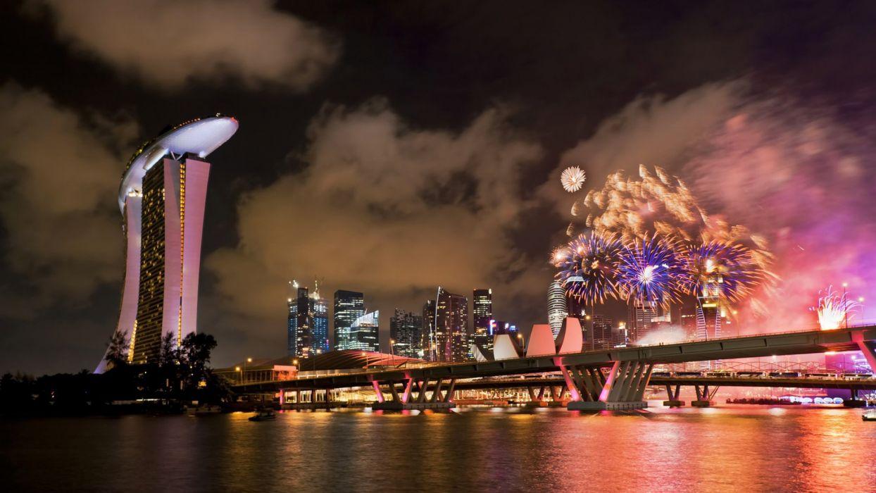 fireworks Singapore Asia wallpaper