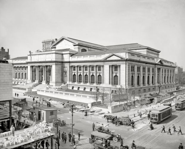 streets library buildings New York City grayscale historical wallpaper