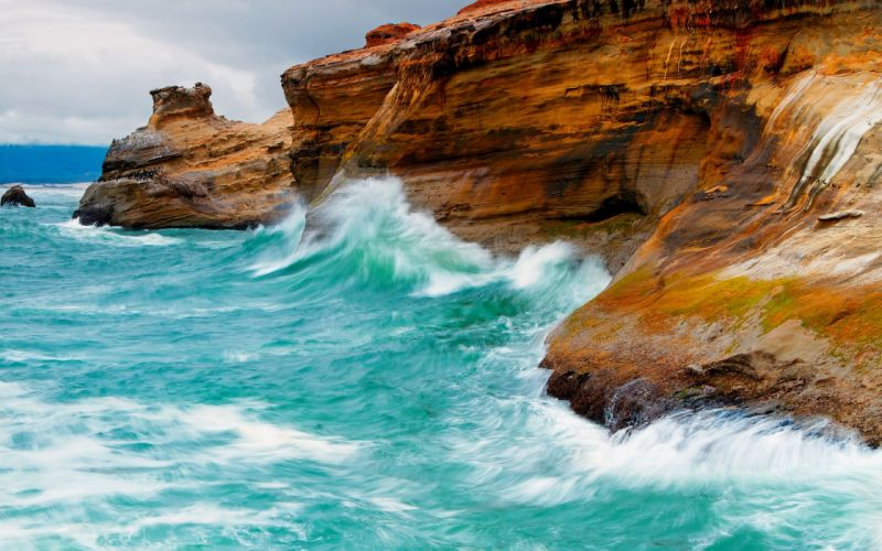 nature coast birds waves animals rocks cliffs sea wallpaper